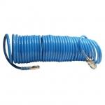 Шланг спиральный РТ-1708 применяется для соединения пневматических инструментов и компрессора. Длина шланга составляет 15 метров, а диаметр - 5,5*8 мм. Шланг изготовлен из полиуретана, что делает его достаточно прочным при высоком уровне гибкости. Рабочее давление до 15 атмосфер. Преимущества - Изготовление из полиуретана гарантирует высокий показатель износостойкости, - Стойкий к механическим воздействиям и температурам, - Для удобства подключения инструментов к компрессору оснащен быстроразъемными соединениями, - Достаточно большая длина шланга позволяется свободно работать с пневмоинструментом без перемещения самого компрессора.