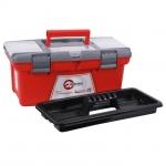 Ящик для инструмента BX-0416 INTERTOOL – ящик для хранения и безопасной транспортировки инструмента. Ящик изготовлен из прочного пластика, имеет прочную ручку для его ношения и устойчив к внешним механическим воздействиям. Ящик имеет пластиковые замки и дополнительные пластиковые боксы на крышке. Два бокса – съемные, необходимы для хранения мелких деталей, расходных материалов и т.д. А третий бокс, расположенный на передней части крышке ящика имеет дополнительные отверстия для бит (отверточных насадок), головок. Габаритные размеры ящика BX-0416 - 415*210*190 мм.