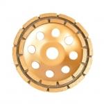 Фреза торцевая шлифовальная алмазная ТМ INTERTOOL предназначена для работ с УШМ. Позволяет производить как грубую обработку, так и полировочные работы. Состав металла самого диска с алмазным напылением (20–22%) позволяет выдерживать серьезную силовую нагрузку, а также высокий температурный режим, поэтому фрезы данного класса можно использовать при сухом типе резки. Сфера применения: твердые огнеупоры, гранит, мрамор, бетон, кирпич. Особенности - Можно использовать для грубой обработки и полировочных работ, - Выдерживает высокие нагрузки, - Можно использовать при сухом типе резки.
