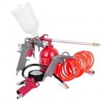 Набор инструментов РТ-1501 — эффективное решение многих задач, которые могут возникнуть в гараже, мастерской или наавтомобильной мойке. В набор вошло пять предметов:краскопульт, предназначенный для окрашивания предметов из дерева, металла или пластмассы, пистолет, который может распылять различные жидкости, пистолет продувочный, пистолет для накачивания шин и шланг спиральный из поливинилхлорида (PVC5 метров). Все инструменты набора оснащены быстроразъемными соединениями, что обеспечивает удобство его...