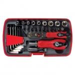 Отвертка с набором инструментов VT-1035 применяется для работы со многими видами техники. В набор входит отвертка, трещотка, комплект из восьми 6-гранников, комплект часовых отверток из 4 шт. Диаметры головок от 5 до 13 мм. Купить отвертку с набором инструментов VT-1035 – означает приобрести надежного помощника в любой работе. Преимущества: - Набор поставляется в удобном и компактном пластиковом футляре с надежной крышкой, что обеспечивает аккуратное и надежное хранение, - Биты и ключи разложены по...