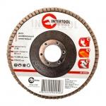 Диск шлифовальный лепестковый торцевой ТМ INTERTOOL подходит для применения с УШМ. Используется в работах по шлифованию и полировке изделий из металла, стали, бетона, сухого дерева, лака/краски. В зависимости от обрабатываемой поверхности и предполагаемого слоя снятия подбирается зернистость диска. Диски с зернистостью от 36до 40 предназначены для предварительногошлифования поверхности. При этом обеспечивается низкий уровень шума. Абразивное зерно: оксид алюминия. Особенности Широкий спектр применения, Абразив: оксид алюминия, Низкий уровень шума.