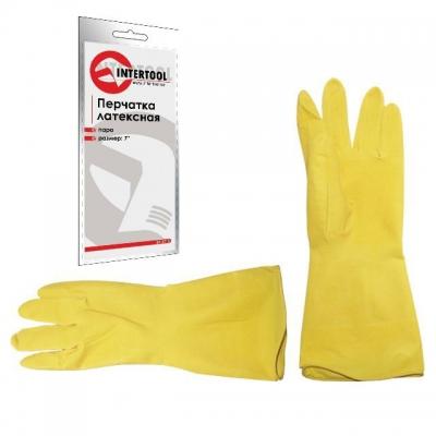 Перчатки INTERTOOL SP-0016 из натурального высококачественного и сверхпрочного латекса защищают руки от вредного воздействия бытовых химических средств, от повреждений и грязи при выполнении сельскохозяйственных, бытовых и строительных работ. Внутреннее хлопковое покрытие обеспечивает комфорт рукам при эксплуатации перчаток.