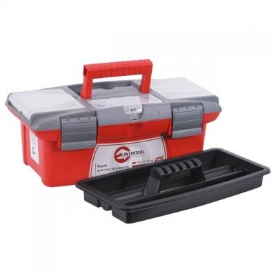 Ящик для инструмента BX-0413 INTERTOOL – это небольшой ящик для хранения и транспортировки инструмента. Ящик изготовлен из прочного пластика, имеет прочную ручку для его ношения и устойчив к внешним механическим воздействиям. Ящик имеет пластиковые замки и дополнительные пластиковые боксы на крышке. Два бокса – съемные, необходимы для хранения мелких деталей, расходных материалов и т.д. А третий бокс, расположенный на передней части крышке ящика имеет дополнительные отверстия для бит (отверточных насадок), головок. Габаритные размеры ящика BX-0413 - 335*185*130 мм.