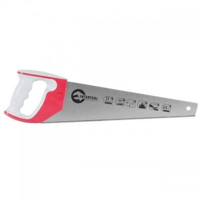 Ножовка по дереву INTERTOOL HT-3162 изготовлена из высококачественной стали твердостью 55 HRC. Плотное утолщенное полотно обеспечивает повышенную точность пиления. Длина рабочей поверхности — 450 мм. Каленые зубья (11 зубьев x 1 дюйм) особой формы с тройной заточкой обеспечивают быстрый рез в обе стороны – как вперед, так и на себя. Ножовка оснащена удобной рукояткой из высокопрочного пластика с накладками из термопластичной резины. Форма рукоятки позволяет откладывать углы 45° и 90°. Такая ножовка...