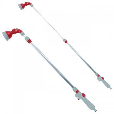 Пистолет-распылитель для полива TM INTERTOOL GE-0043 оборудован телескопической штангой длинной от 90 до 120 см, позволяющей охватывать большую территорию, имеет 9 режимов полива (от сконцентрированной струи до распыления) с плавной регулировкой и удобным переключением. Оснащен эргономичной ручкой, обеспечивающей удобное расположение инструмента в руке. Легко и быстро подключается к системе полива.
