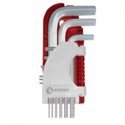Набор Г-образных шестигранных ключей ТМ INTERTOOL применяется для завинчивания гаек, болтов шестигранной формы. Преимуществом ключей данной формы есть возможность не вынимать ключ из винта при полном обороте. Изготовлены из хромванадиевой стали, имеют литую форму,никелированное черное покрытие - все это обеспечивает высокие износостойкие показатели в процессе эксплуатации. Ключи помещены в специальный держатель, который обеспечивает удобство хранения.