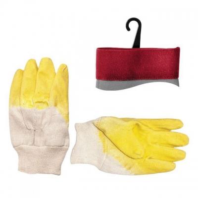Перчатки INTERTOOL SP-0002 тканевые, покрыты желтым рифленым латексом на ладони, обеспечивающим надежную фиксацию скользких материалов. Эластичная резинка надежно фиксирует перчатку на запястье. Защищают кожу рук от механических повреждений при выполнении работ, связанных с обработкой и монтажом стеклянных и зеркальных материалов. Не сковывают движения пальцев.  Читайте также: стойкость перчаток INTERTOOL к механическим и химическим воздействиям