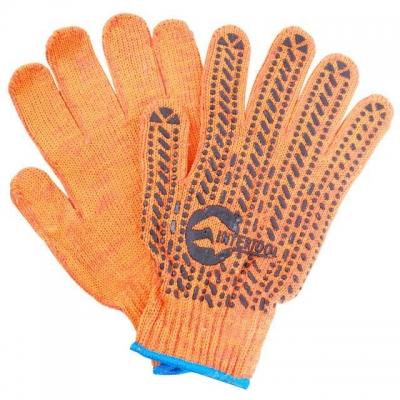Перчатки х/б INTERTOOL SP-0135 – трикотажные оранжевого цвета. На ладони нанесено темно-серое ПВХ-покрытие, обеспечивающее защиту рук и надёжный захват предметов. С эластичными манжетами, которые мягко прилегают к кисти и предотвращают попадание бытового и строительного мусора внутрь перчаток. Благодаря х/б основе обеспечивается свободный воздухообмен. Предназначены для выполнения строительных и сельскохозяйственных работ, ручных механосборочных работ.