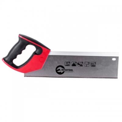 Ножовка пасовочная INTERTOOL HT-3114 предназначена для точного распиливания заготовок малой и средней толщины из древесины, ДСП и фанеры. В основном, данная модель исходя из особенностей дизайна и рукоятки, прикрепленной под углом, используется со стуслом. Полотно ножовки изготовлено из высококачественной стали твердостью 55 HRC. Длина рабочей поверхности — 350 мм. Шаг каленых зубьев особой формы с тройной заточкой — 12 ед х 1 дюйм, что обеспечивает быстрый рез. Ножовка оснащена удобной рукояткой из...