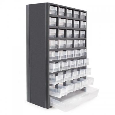 Органайзер INTERTOOL BX-4012 имеет ударопрочный пластиковый корпус. В данном органайзере имеются 40 отсеков с пластиковыми емкостями. В органайзере можно хранить большое количество мелких деталей, небольших инструментов. Данная модель органайзера не имеет дополнительных внутренних перегородок для пластиковых ячеек, как у органайзера BX-4011. Этому свидетельствует меньший размер органайзера. Самый нижний пластиковый контейнер больше всех и он не разделен дополнительными перегородками. Корпус органайзера...