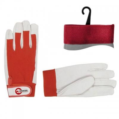 Перчатки INTERTOOL SP-0012 изготовлены из высококачественной белой кожи с тканевыми вставками красного цвета. Предназначены для выполнения строительных и бытовых работ. Удобный крой делает перчатки эластичными, что позволяет не сковывать движений пальцев. Использование высококачественных материалов надежно защищает руки от механических повреждений и загрязнений. Эластичная манжета на липучке обеспечивает надежную фиксацию перчаток на запястье. Особенности Манжет на липучке, Качественные и устойчивые к нагрузкам материалы (кожа свиная лицевая, класс А/В), Удобные, эластичные, не сковывают движений пальцев.