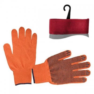 Перчатки х/б INTERTOOL SP-0131 трикотажные оранжевого цвета. На ладони нанесено черное ПВХ-покрытие, обеспечивающее защиту рук и надёжный захват предметов. С эластичными манжетами, которые мягко прилегают к кисти и предотвращают попадание бытового и строительного мусора внутрь перчаток. Благодаря х/б основе обеспечивается свободный воздухообмен. Предназначены для выполнения строительных и сельскохозяйственных работ, ручных механосборочных работ.