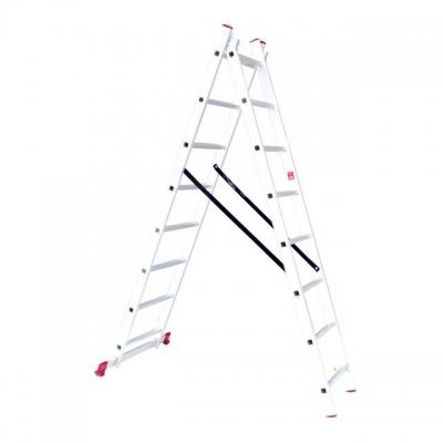Лестница алюминиевая LT-0208 TM INTERTOOL изготовлена из высококачественного экструдированного алюминиевого профиля, поэтому она достаточно легкая – 7,9 кг и максимально надежная – выдерживает нагрузки до 150 кг. Каждая из двух секций оснащена 8 ступенями шириной 280 мм. Высота лестницы в разложенном виде – 3690 мм, в сложенном – 2286 мм. Оснащена противоскользящими двухкомпонентными опорными заглушками, что обеспечивает надежное сцепление сопорной поверхностью ипрепятствует нежелательному скольжению...