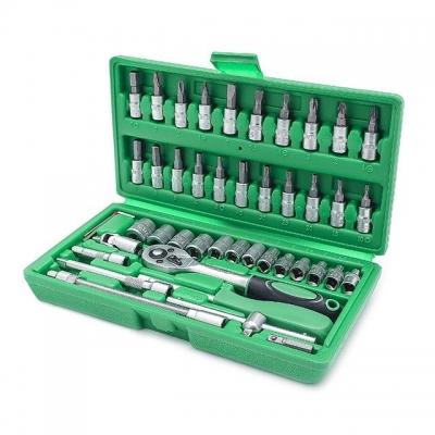Набор инструментов ET-6046 INTERTOOL состоит из 46 единиц с рабочим квадратом 1/4