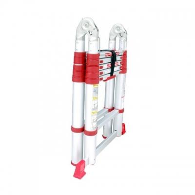 Лестница алюминиевая телескопическая раскладная LT-3039 TM INTERTOOL произведена в соответствии с европейским стандартом EN131. Состоит из двух секций по 6 рифленых ступеней шириной 300 мм. Секции соединены надежным шарнирным механизмом с замком безопасности позволяющим использовать её в качестве стремянки и приставной лестницы. Высота в разложенном виде – 3850 мм, высота стремянки – 1900 мм, вес лестницы – 15 кг, выдерживает нагрузку до 150 кг. Противоскользящие опорные заглушки обеспечивают надежное...