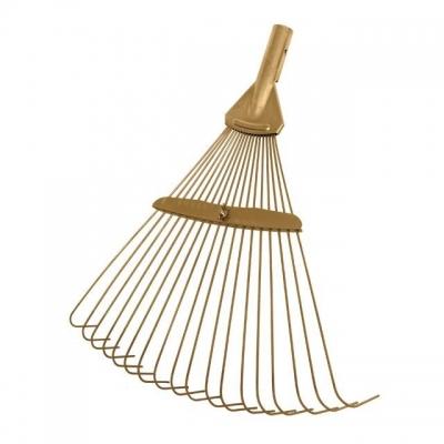 Грабли веерные 18 прутьев ТМ INTERTOOL FT-3006 применяются в садово-огородных работах. Зубья имеют изогнутую на концах форму, изготовлены из пружинной стали, поверхность оцинкована, что придает прутьям дополнительную прочность. Имеют механизм регулировки ширины рабочей поверхности. Рекомендуемая длина рукоятки 130 см.