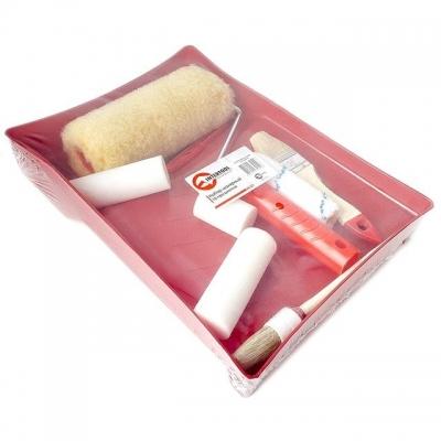 Малярный набор INTERTOOL KT-3010 станет отличным решением для небольших ремонтных работ как грубого, так и мелкого характера. В комплект малярного набора INTERTOOL KT-3010 включены: Валикдля масляной краски100Х35Х6 мм (2 шт) Валик для масляной краски50Х35Х6 мм Валик дляводоэмульсионной краски100Х20Х6 мм Валик для водоэмульсионной краски 180Х48Х6 мм Ручка для валика 180Х6 мм Ручка для валика 55Х6 мм Пластмассовая ванночка 260Х350Х60 мм Кисть флейцевая 38 мм Кисть круглая 21 мм