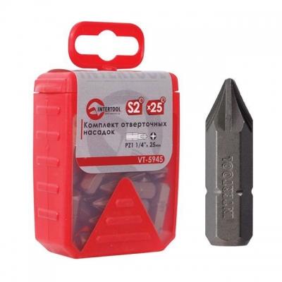 Если вы профессионально занимаетесь строительством, снабжаете строительные бригады инструментами, или занимаетесь продажами строительного инструмента и расходных материалов, то комплект отверточных насадок VT-5945 INTERTOOL идеально подойдет для вас. В комплекте имеются 25 ед. отверточных насадок со шлицем PZ1. Насадка имеет размер на 1/4