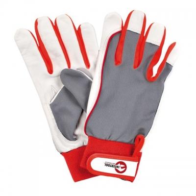 Перчатки INTERTOOL SP-0011 изготовлены из качественной козьей кожи и декорированы тканевыми вставками на тыльной стороне ладони. Предназначены для выполнения строительных и бытовых работ. Мягкость материала не сковывает движений пальцев. Надежно защищают руки от механических повреждений и загрязнений.