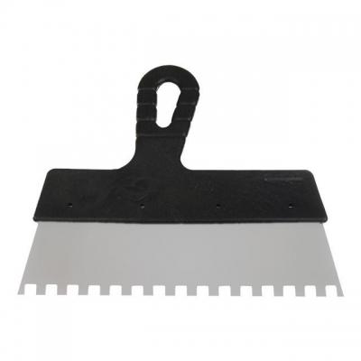 Шпатель KT-2208 INTERTOOL изготовлен из нержавеющей стали, имеет прямоугольное полотно с квадратным зубом 8*8 мм шириной 200 мм. Эргономичная пластиковая рукоятка обеспечивает надежный захват. Предназначен для нанесения клеевых и цементных и других густых растворов на керамическую плитку, натуральный камень, при проведении облицовочных работ. Легок и удобен в применении.