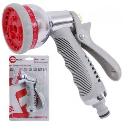 Многофункциональный пистолет-распылитель ТМ INTERTOOL GE-0004 выполнен в хромированном корпусе с эргономичной прорезиненной ручкой, предотвращающей выскальзывание из руки. Оснащен 8-ю удобно переключающимися режимами полива – плавная градация от сконцентрированной струи до распыления. Легко и быстро подключается к системе полива.